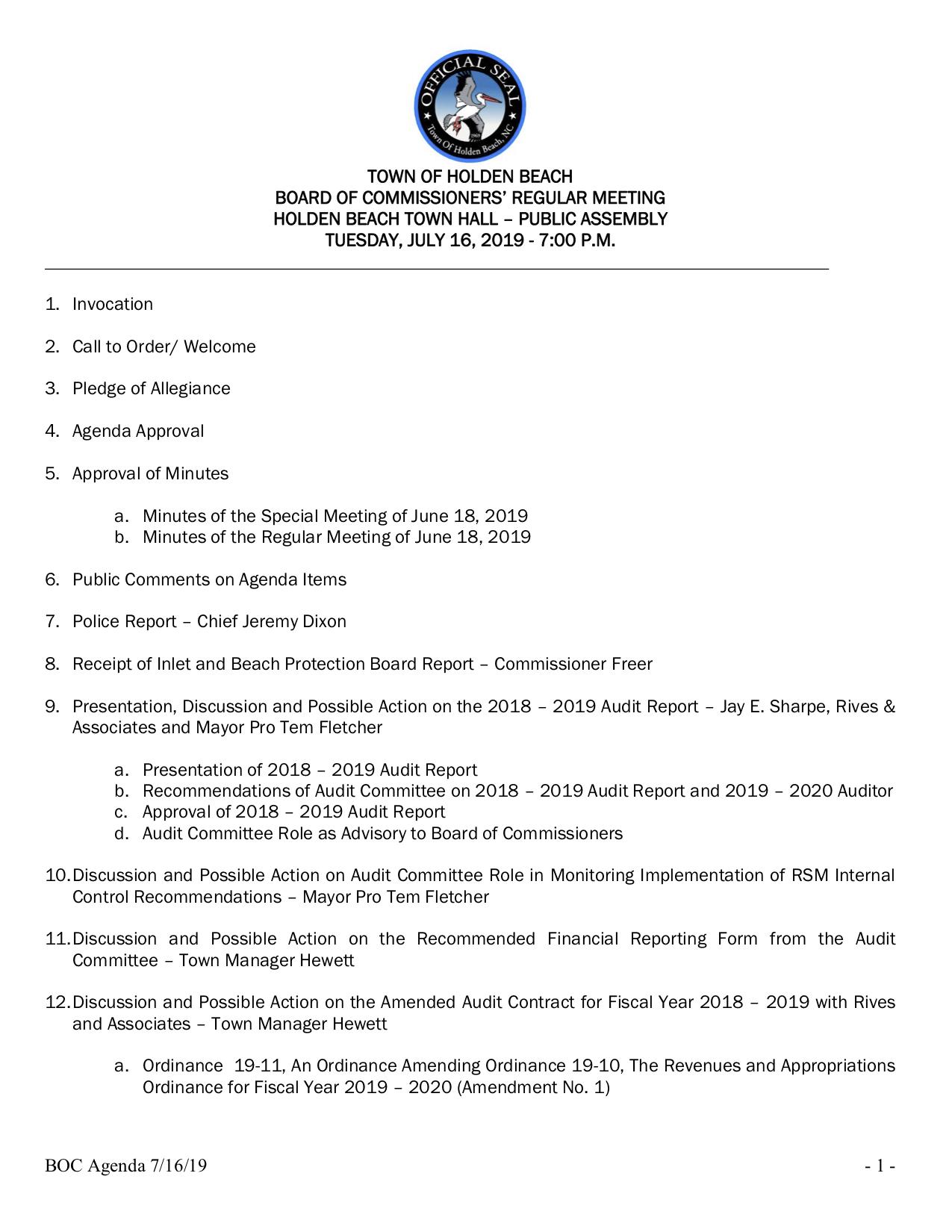 BOC Agenda 7-19